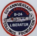 60 th Anniversity Collings Foundation B-24 All- American Patch